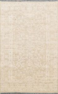 Floral Beige Moroccan Oriental Area Rug Wool Hand-Knotted Living Room Carpet 5x8