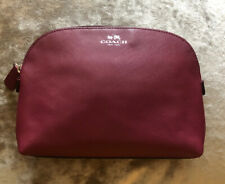 Coach Cosmetic Case Travel Makeup Bag Pouch Thatched Leather Burgundy (org.$59)