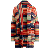 Polo Ralph Lauren Women Vtg Patchwork Southwestern Aztec Beacon Sweater Cardigan