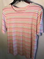 Charter Club Striped Short Sleeve Tunic Women's Size Large
