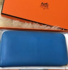 💯 AUTH Hermes Azap Long preloved Wallet Blue Paradise Leather Good Condition