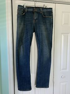 """Nudie Jeans Grim Tim 36x34 """"Foggy Dust""""Made in Italy."""