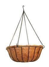Black Metal Hanging Plant Basket Flower Pot Planter w Coco Liner and Chain 22-Qt