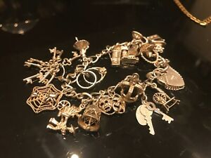 Sterling Silver Vintage Charm Bracelet With Full Charms