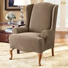 Stretch Pique Wing Chair Slipcover sure fit TAUPE