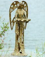 Garden Angel Bird Feeder Cast Iron Distressed Statue Sculpture