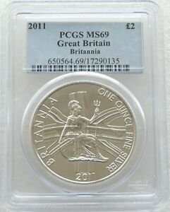 2011 Royal Mint Britannia £2 Two Pound Silver Bullion 1oz Coin PCGS MS69