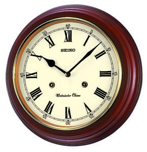 Seiko Dark Wooden Round Westminster Chime Quartz Battery Wall Clock QXH202B