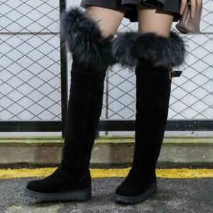 Womens Fur Furry Suede Mid Heel Pull on Over the Knee High Boots Winter Shoes Sz