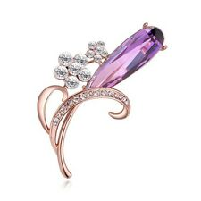 GORGEOUS 18K ROSE GOLD PLATED AND CZ AND AUSTRIAN CRYSTAL PURPLE FLOWER BROOCH