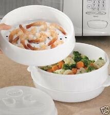 2 TIER MICROWAVE STEAMER * VEGETABLES RICE MEAT FISH PASTA COOKER * COOKING PAN