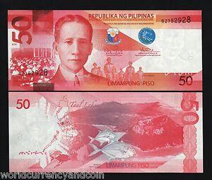 PHILIPPINES 50 PESOS NEW 2010 FISH TAAL LAKE OSMENA LEGISLATIVE UNC ASEAN 10 PCS