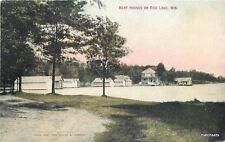 1910 Rice Lake Wisconsin Boat Houses Larson postcard 5305