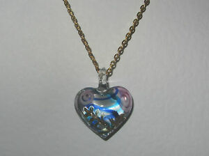 BLUE PINK CLEAR LAMP WORK GLASS HEART PENDANT GOLD PLATED