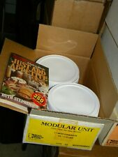 34 #10 Cans Plastic Reusable Lids +Cookbook Emergency Rainy Day Food Storage NOS