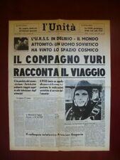 Yuri Gagarin primo uomo nello spazio astronauta 13/4/1961 L'Unità ristampa