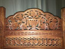 Vintage Hand Carved Solid Teak Wood 4 Panel Folding Screen Room Divider Privacy