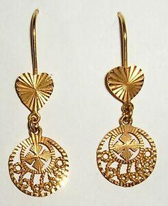 21K  Solid Gold Earrings, Pierced Ears Hooks