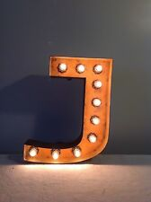 "New Rustic Metal Letter J Light Marquee: Sign Wall Decoration 12"" Vintage"