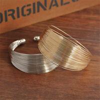 Women Hollow Wide Punk Gold Silver Cuff Bracelet Bangle Costume Jewelry Gift