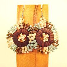 "1 1/2"" Handmade Aqua Gold Stone  Multi Color Seed Bead Wood Disc Dangle Earring"