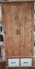 SOLID WOOD RUSTIC CHUNKY WARDROBE WITH PAINTED DRAWERS, CHILDRENS WARDROBE