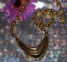 CHUNKY RUNWAY NAPIER STATEMENT NECKLACE GOLD TONE METAL BEADS
