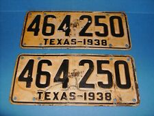 TEXAS LICENSE PLATES 1938 ORIGINAL CONDITION CHEVY DODGE FORD