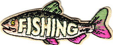 """FISHING"" w/FISH -  Iron On Embroidered Applique Patch/ Words, Sea Creatures"