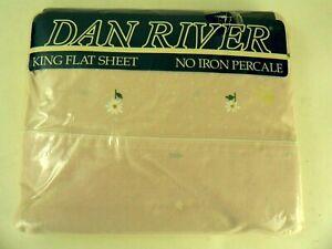 VTG  Dan River King FLAT Sheet No Iron Percale Pink w Dots & Daisies USA NOS
