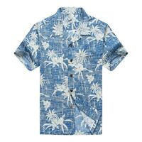NWT Men Aloha Shirt Cruise Luau Hawaiian Party Vintage Blue Pineapple Floral