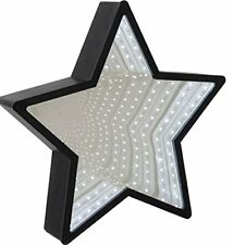 NOVELTY STAR SHAPED INFINITY BLACK MIRROR WITH LED LIGHTS NEW IN GIFT BOX