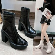 Womens Gothic High Block Heels Platform Round Toe Ankle Motorcycle Boots Shoes