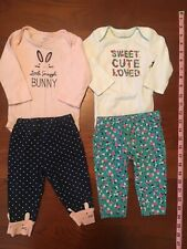 Carters Baby Girl 6 Month Lot Of 2 Outfits Vguc Floral Bunny Pink Teal