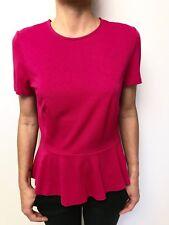 WITCHERY fuchsia pink short sleeve peplum waist top sz medium stretch