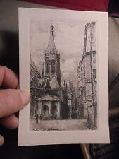 Ancienne Gravure dessin Original Paris Eglise St Severin