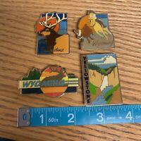 4 Metal Wyoming Yellowstone National Park Magnets Cowboy Deer