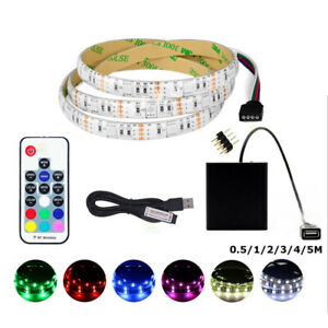0.5M-5M 5V 5050 RGB LED Strip Light Colour Changing USB TV PC Back Mood Lighting