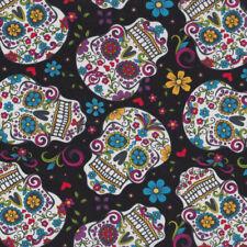 Sugar Skulls on Black Flowers Quilt Fabric FQ or Metre