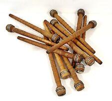 12 Vintage WOODEN THREAD SPOOLS Yarn Wool industrial wood textile spindle bobbin