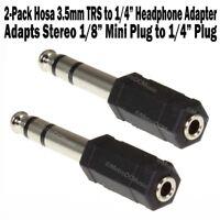 """2-Pack Hosa Headphone Adapter 3.5mm Stereo Mini Female to 1/4"""" TRS Male Phone"""