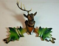 """Wooden Leaves Cuckoo Clock Topper Deer Stag Head 7 5/8"""" Black Forest Germany NOS"""