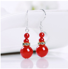 Fashion Womens Natural Stone Opal Agate Jade Hook Drop Dangle Earrings