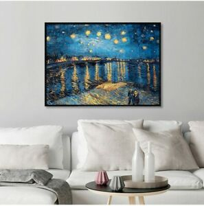Starry Night Over The Rhone River Van Gogh Canvas Wall Art Posters And Prints