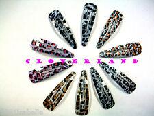 LOT DE 10 BARRETTES PINCES CLIC CLAC LEOPARD A CHEVEUX COIFFURE FILLE FEMME