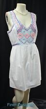 AE American Eagle tribal embroidered mini Dress V neck shabby cotton Size 10 NEW
