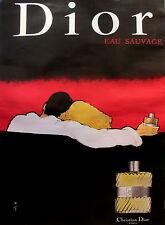 1979 ORIGINAL CHRISTIAN DIOR EAU SAUVAGE POSTER, ROMANTIC PERFUME AD, RENE GRUAU