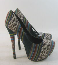 "new Mexican Inspired Color 6""High Heel 2""Platform Round Toe Sexy Shoes Size 7"