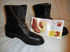 VINTAGE 1950'S KNAPP ENGINEER MOTORCYCLE COMBAT BLACK WORK BOOTS SIZE 10 1/2  A+