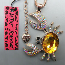 Women's Yellow Crystal Crab Pendant Betsey Johnson Sweater Necklace